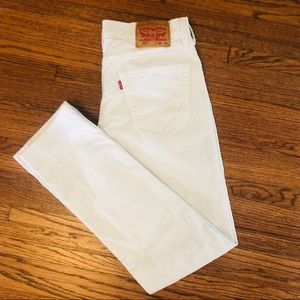 Levi's 511 Slim Fit White Jeans Knee Holes 34x32